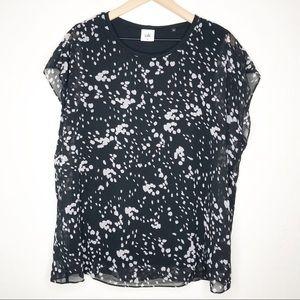 CAbi Black & Cream Printed Lined Blouse